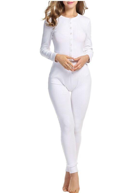 Hotouch Women Long Sleeve Union Suit Thermal Underwear Set Sleepwear Pjs As Lg