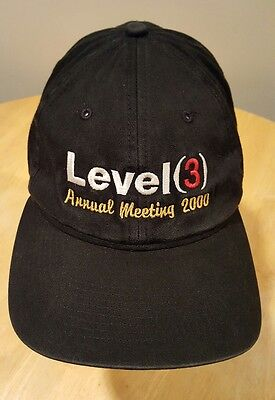 Level  3  Communications Baseball Cap Hat Faux Leather Strapback Buckle Black