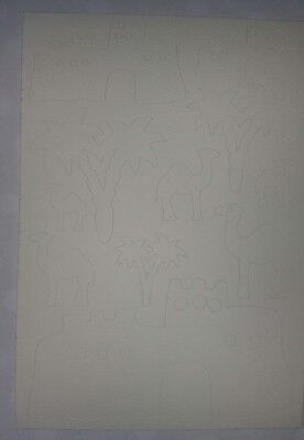 Stickerbogen Wüste Palmen Kamele  14,5x23cm Scrapbooking Aufkleber Tonpapier