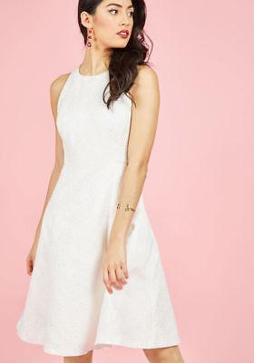 Modcloth Wendy Bird Elegant Evolution Dress in Ivory Sz 4 Texture Brocade A-line
