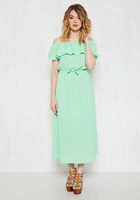 NWT Modcloth AS by Anna Smith Mint Green Ruffle Off-The-Shoulder Dress Size 12 (Anna Green Dress)