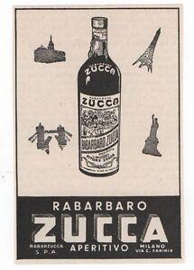 Pubblicita-1957-RABARBARO-ZUCCA-MILANO-ITALY-advert-reklame-werbung-publicite