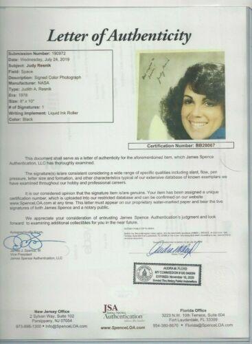 Judith Resnik Autographed 8x10 Photo USA NASA Astronaut JSA Letter dec 1986