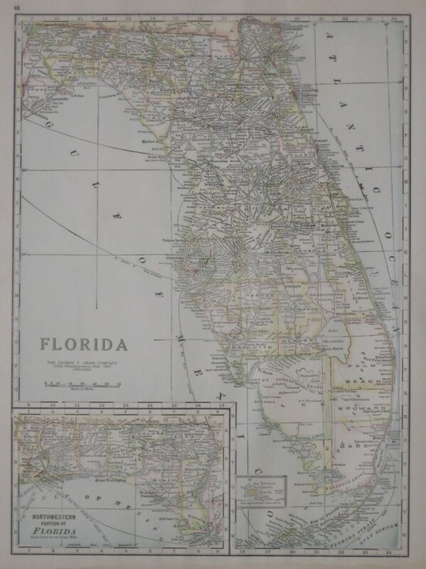 Original 1921 Antique Map FLORIDA Electric Railroads Ingraham Trail Dry Tortugas
