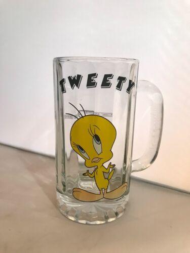 Vintage Tweety Bird Glass Beer Mug Stein Warner Brothers Studio 1996 CHARITY