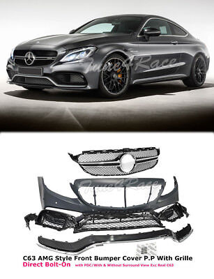 For 2015-2017 W205 Sedan 2017 C250 Coupe AMG Style Front Bumper Kit with Grille
