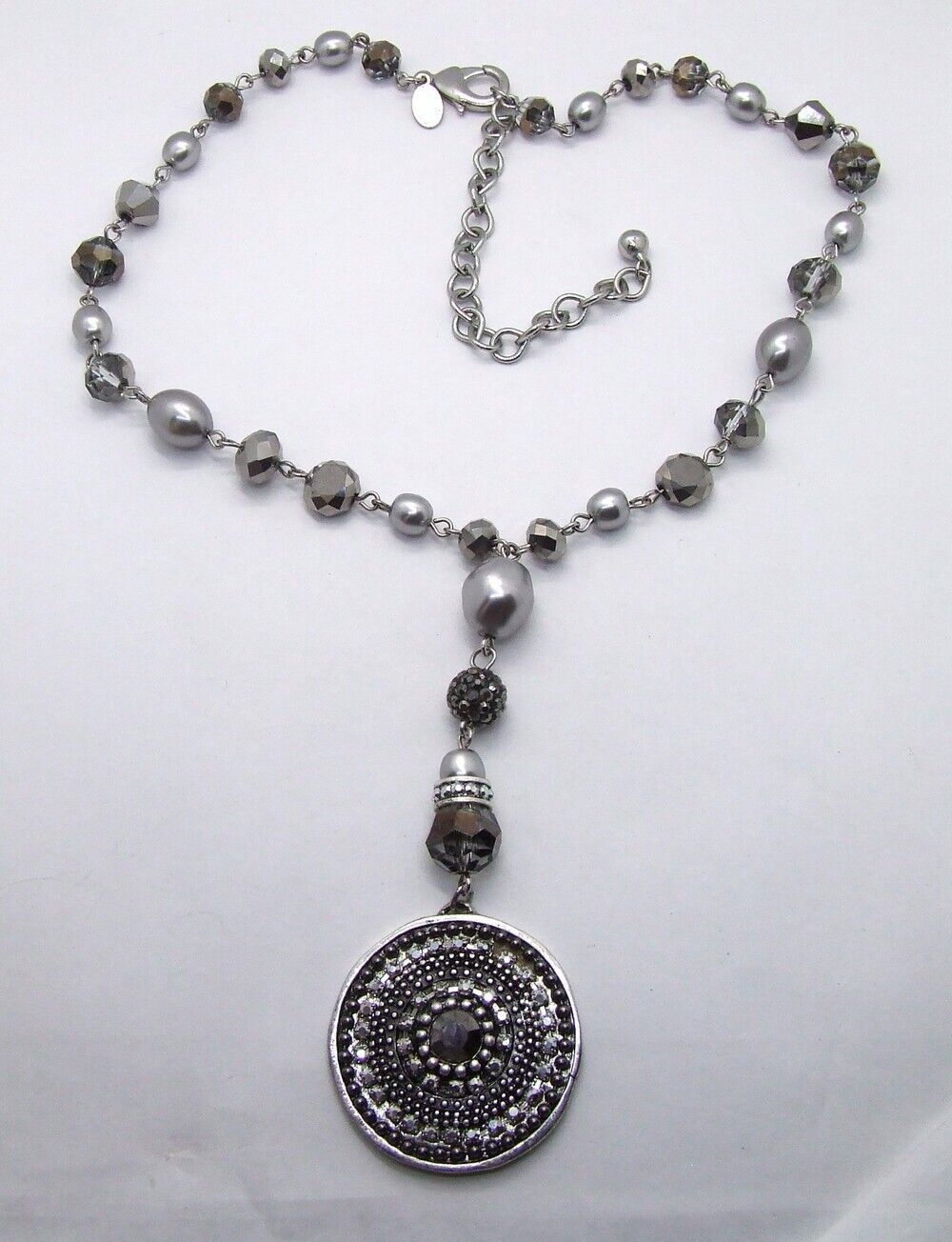 16 Chicos Smokey AB Crystal/Silver Faux Pearl Medallion Pendant Choker/Necklace - $11.99