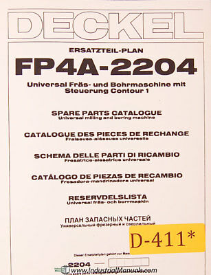 Deckel Fp4a 2204 Universal Milling And Boring Spare Parts Manual 1984