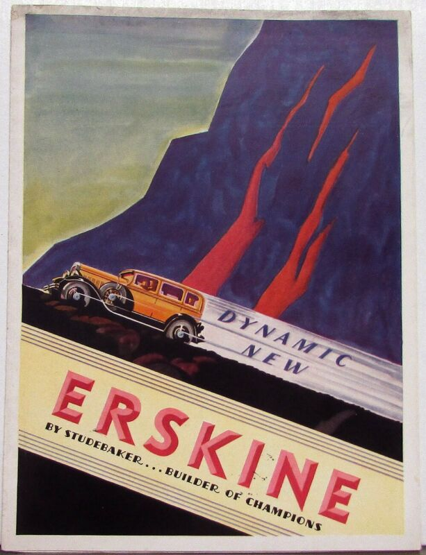 1930 Studebaker Erskine Sedan Coupe Landau Color Sales Brochure Folder