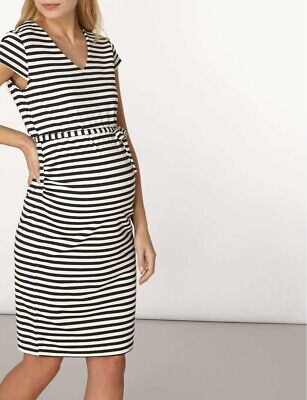 Mamalicious Maternity Black Cap Sleeve Stripe Jersey Dress Size M DH093 BB 04 (Cap Sleeve Maternity Jersey)
