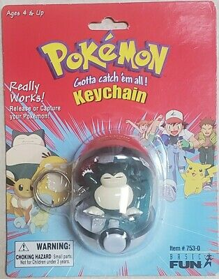 Pokemon Pokeball Keychain #143 Snorlax 1999 Basic Fun NEW SEALED