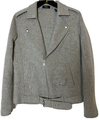 THEORY gray wool cashmere blend biker jacket with zipper and buckle. Size S.