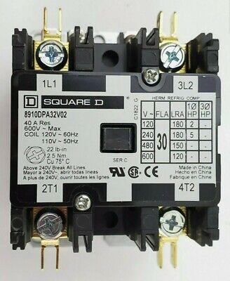 Square D 8910 Dpa32v02 30 Amp 2 Pole 120v Coil Definite Purpose Contactor Open