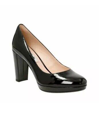 Clarks women / lady  Kendra Black Patent Leather Court Shoes High Heel Black Patent Leather High Heel