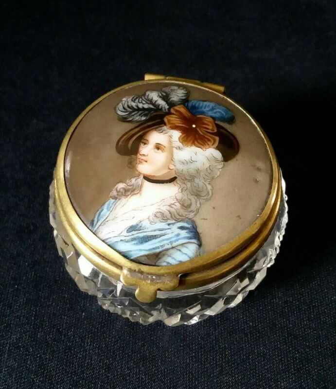 Antique French Crystal Patch Trinket Box Portrait Hand Painted Marie Antoinette