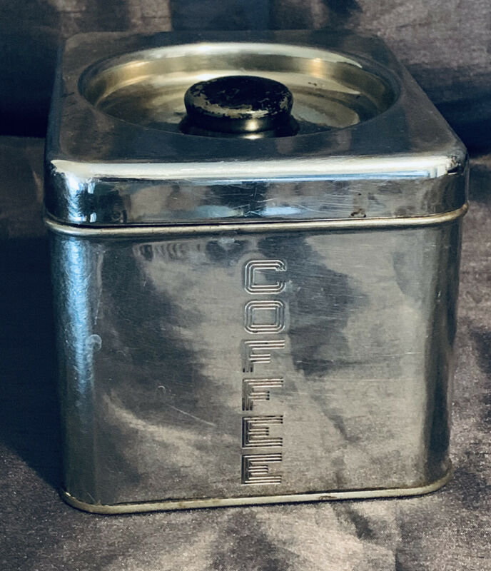Vintage Lincoln BeautyWare Metal COFFEE Canister With Lid Retro 6x5x4.5 Rustic