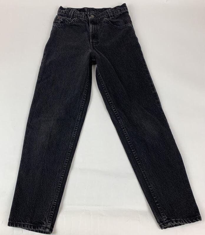 Vintage 90's Levi's 550 Jeans Student Orange Tab USA Black Taper Leg Sz 26 X 28