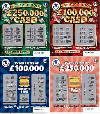 FAKE JOKE LOTTERY SCRATCH CARDS TICKETS £100,000 + £250,000 BEST ON EBAY!!!