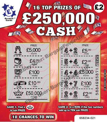 R - FAKE JOKE LOTTERY SCRATCH CARDS TICKETS  WIN £50,000 LOL (Scratch Ticket Spiele)