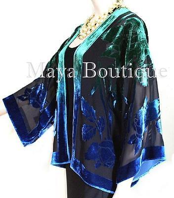 Silk Velvet Jacket Short Kimono No Fringe Hand Dyed Green Blue Maya Matazaro