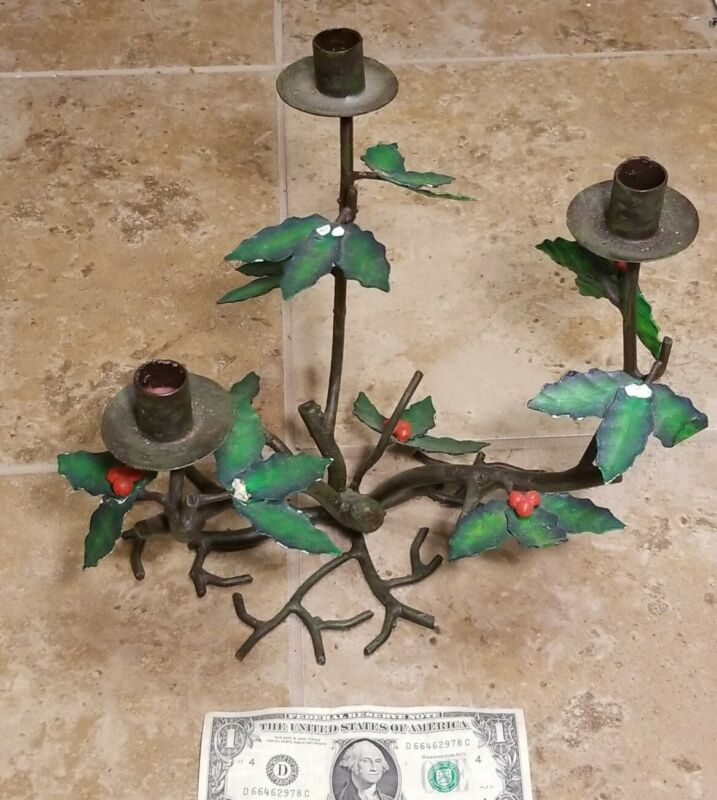 """Vintage CAST IRON Christmas Holly and  Berries CANDLE HOLDER 11"""" Tall"""