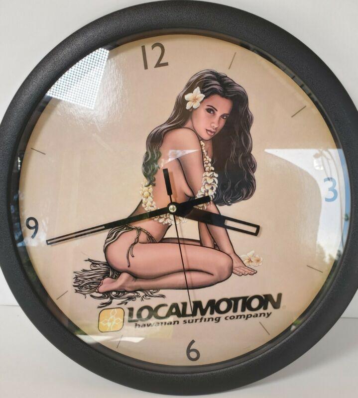 Local Motion Collectible Hawaiian Surfing Company Clock Super Hot Girl