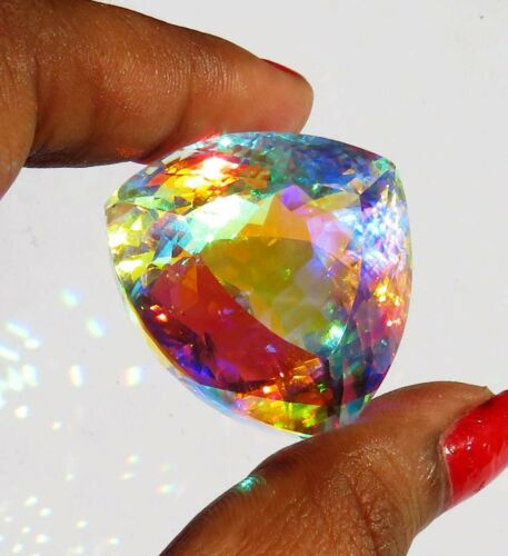 Natural 131.35 Ct Brazil Mystic Topaz Trillion Cut Loose Gemstone