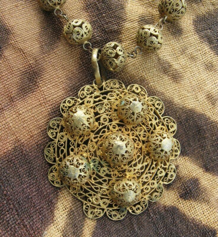 Rare Antique Yoruba Handmade Gilded Brass Filigree Necklace
