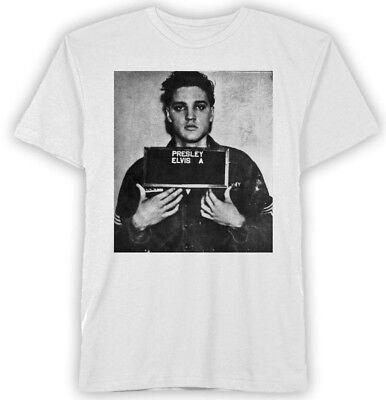 Elvis Presley Mugshot White Men's Graphic T-Shirt New
