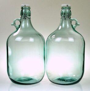 2 x GLASS FLAGON DEMIJOHN 5 LITER WITH SWING TOP LID GALLON JAR
