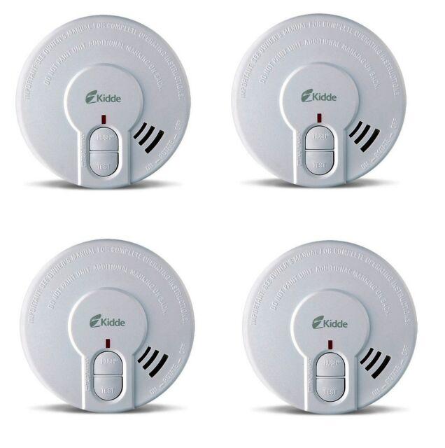 4 x kidde 29h hush smoke detector alarm battery operated test pause but. Black Bedroom Furniture Sets. Home Design Ideas