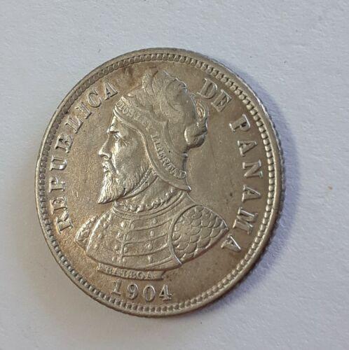 1904 Panama 10 Centesimos Silver Coin - Circulated