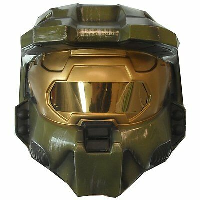 HALO MASTER CHIEF 2-PIECE HELMET MASK COSTUME VIDEO GAME TOY GREEN ADULT - Master Chief Mask