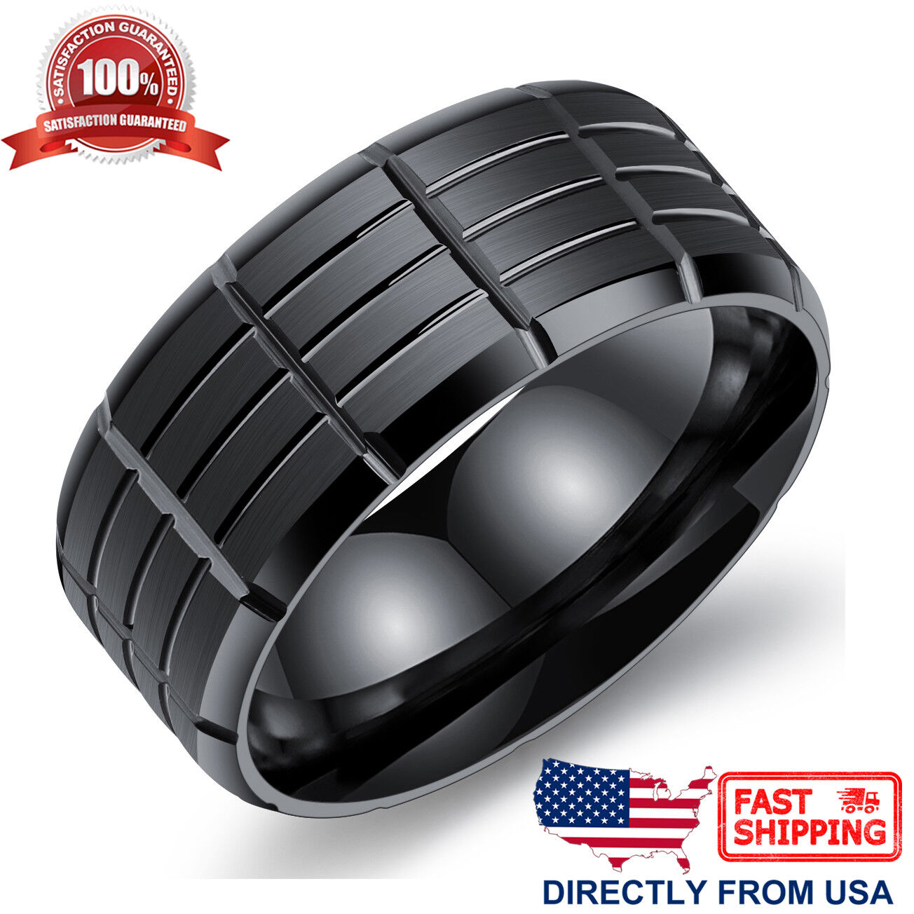 Men's Stainless Steel Ring, 9mm Comfort Fit Wedding Band Jewelry & Watches