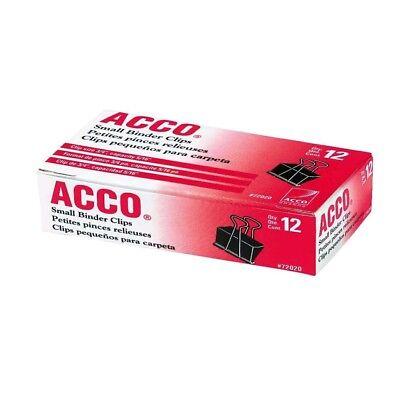 Acco Binder Clips Small 1 Box 12 Clips Per Box 72020 - New Free Shipping