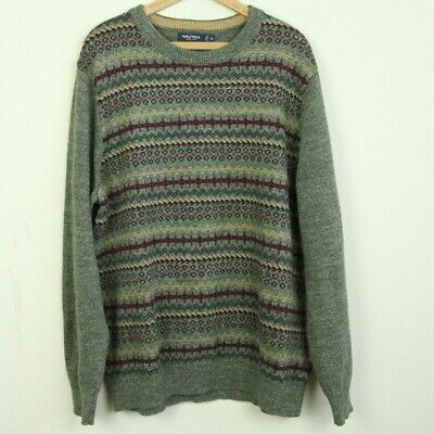 Nautica Mens XL Cotton Knit Pullover Sweater Jumper Green Fair Isle Crewneck