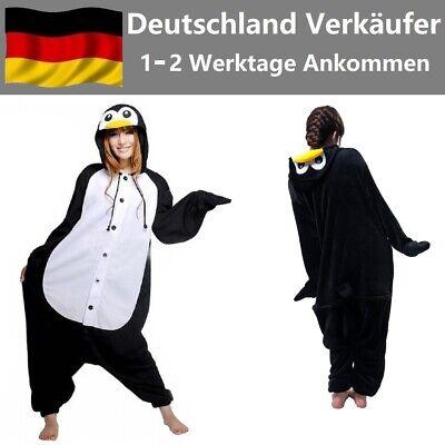Unisex Pinguin Pyjama Jumpsuit Erwachsene Nachtwäsche Onesie Kigurumi Kostüme DE