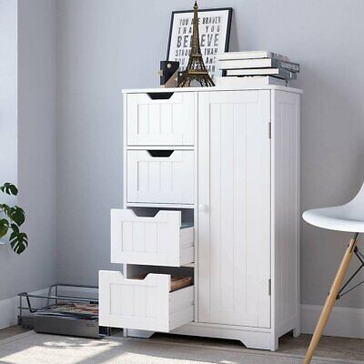 Bathroom Floor Cabinet Storage Organizer Free Standing Sideboard Cabinet Wooden