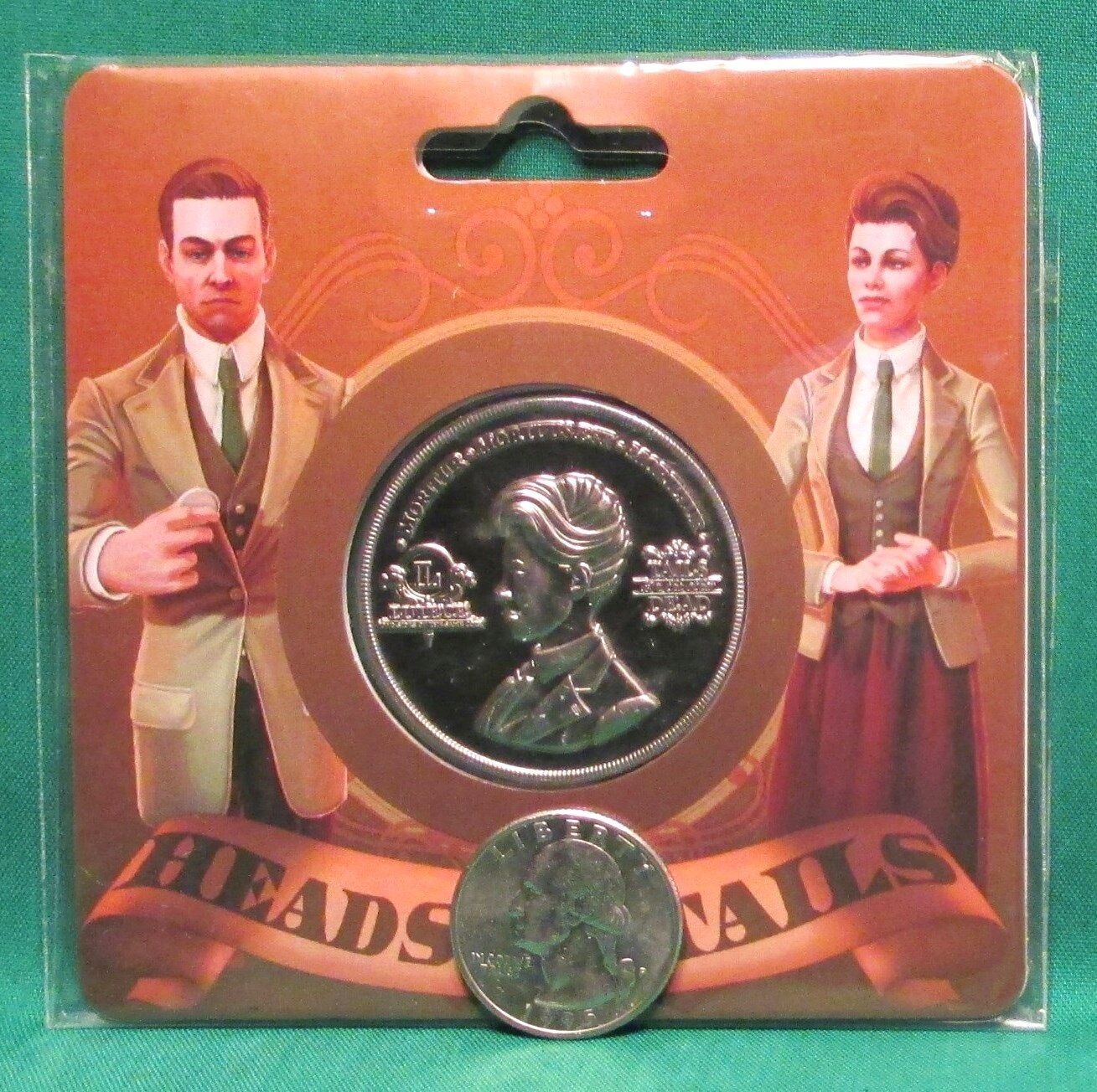 """Official BioShock Infinite Robert & Rosalind Lutece Collectible 1.5"""" Coin SEALED"""