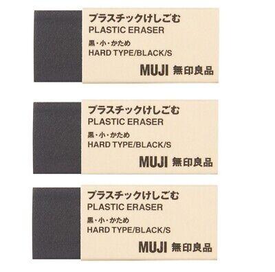 Muji Eraser Black 3 Pcs Made In Japan Moma Plastic Rubber