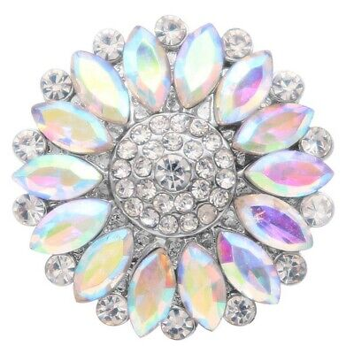 Large Silver Iridescent Rhinestone Flower 18mm Snap Charm For Ginger Snaps -