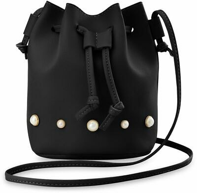 Voll Perlen Handtasche (stilvolle Damen Beuteltasche mit Perlen originelles Design Handtasche schwarz)
