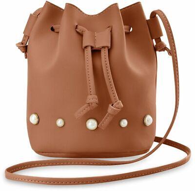 Voll Perlen Handtasche (stilvolle Damen Beuteltasche mit Perlen originelles Design Handtasche camel)