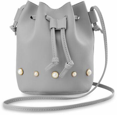 Voll Perlen Handtasche (stilvolle Damen Beuteltasche mit Perlen originelles Design Handtasche grau)