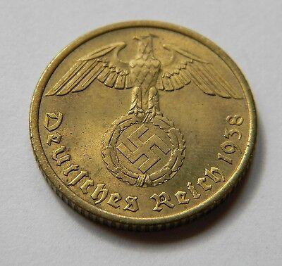 DRITTES REICH: 10 Reichspfennig 1938 G, J. 364, fast sempelglanz, TOLLES STÜCK !