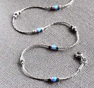 ANKLET OPAL Solid 925 Sterling Silver Chain 10''  blue Ankle Bracelet Made in UK