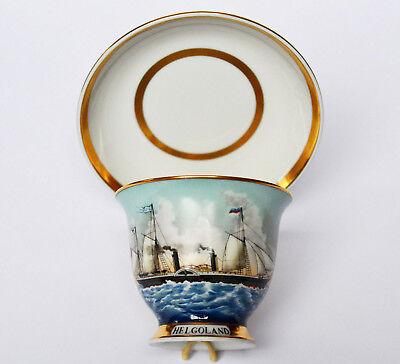 Captain's Cup Kakaotasse Schiff Helgoland Porzellan handbemalt A. Warnecke Hamb.