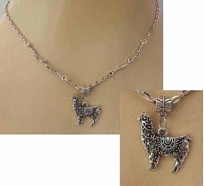 Llama Necklace Alpaca Charm Chain Silver Jewelry Animal Handmade Fashion - Llama Jewelry