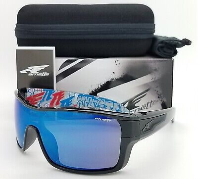 NEW Arnette Sunglasses Shore House AN4186 220055 Polished Black Blue Mirror (Sunglass House)