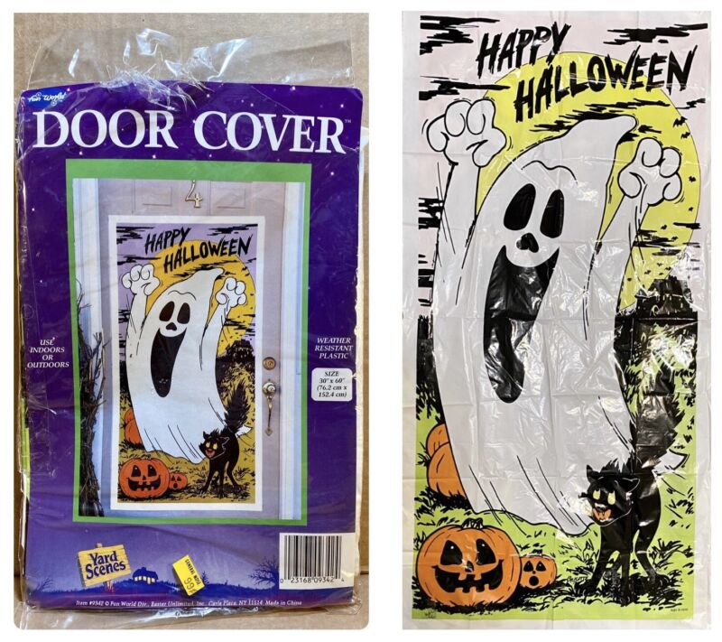 "Vintage Fun World Halloween Door Cover 60"" x 30"" Ghost Black Cat Jack-O-Lanterns"